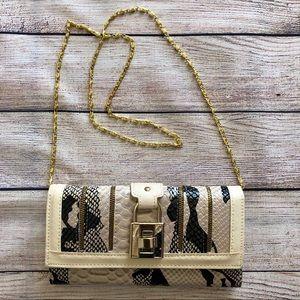 Snake Skin Print Flap Buckle Clutch Crossbody Bag